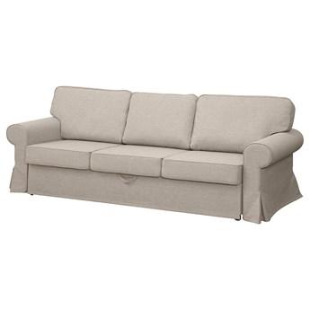 IKEA EVERTSBERG Rozkładana sofa 3-osobowa, z pojemnikiem beżowy, Wysokość łóżka: 45 cm