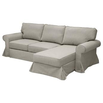 IKEA EVERTSBERG Sofa 2-osobowa rozkładana, z szezlongiem i pojemnik/beżowy, Wysokość z poduchami oparcia: 91 cm