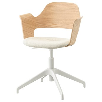 IKEA FJÄLLBERGET Krzesło konferencyjne, Okleina dębowa bejcowana na biało/Gunnared beżowy, Przetestowano dla: 110 kg