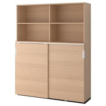 IKEA GALANT Kombinacja z przesuwanymi drzwiami, Okleina dębowa bejcowana na biało, 160x200 cm