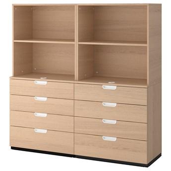 IKEA GALANT Kombinacja z szufladami, Okleina dębowa bejcowana na biało, 160x160 cm