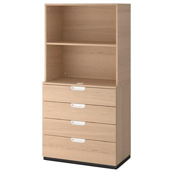 IKEA GALANT Kombinacja z szufladami, Okleina dębowa bejcowana na biało, 80x160 cm