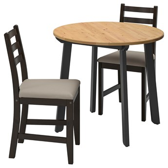 IKEA GAMLARED / LERHAMN Stół i 2 krzesła, bejca jasna patyna czarnobrąz/Vittaryd beżowy, 85 cm