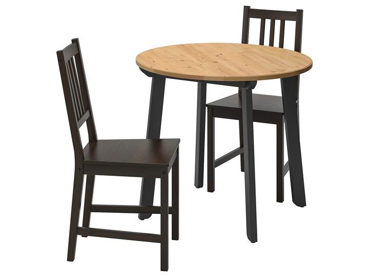 IKEA GAMLARED / STEFAN Stół i 2 krzesła, bejca jasna patyna/brązowoczarny, 85 cm