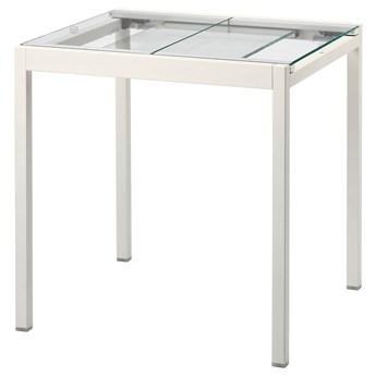 IKEA GLIVARP Stół rozkładany, przezroczysty/biały, 75/115x70 cm