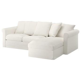 IKEA GRÖNLID Sofa 3-osobowa z szezlongiem, Inseros biały, Wysokość z poduchami oparcia: 104 cm