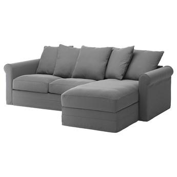 IKEA GRÖNLID Sofa 3-osobowa z szezlongiem, Ljungen średnioszary, Wysokość z poduchami oparcia: 104 cm