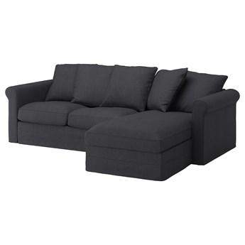 IKEA GRÖNLID Sofa 3-osobowa z szezlongiem, Sporda ciemnoszary, Wysokość z poduchami oparcia: 104 cm