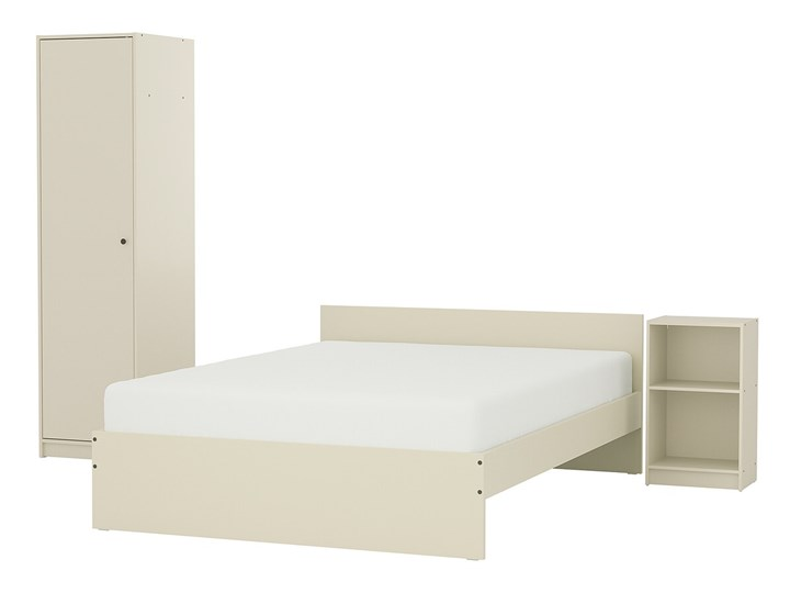 IKEA GURSKEN Zestaw mebli do sypialni 3 szt, jasnobeżowy, Szer. materaca: 140 cm