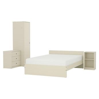 IKEA GURSKEN Zestaw mebli do sypialni 4 szt, jasnobeżowy, Szer. materaca: 140 cm