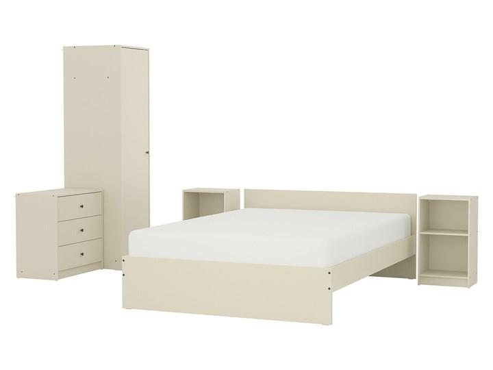 IKEA GURSKEN Zestaw mebli do sypialni 5 szt, jasnobeżowy, Szer. materaca: 140 cm