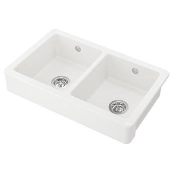IKEA HAVSEN Zlew, 2 kom z widocznym frontem, biały, 82x48 cm