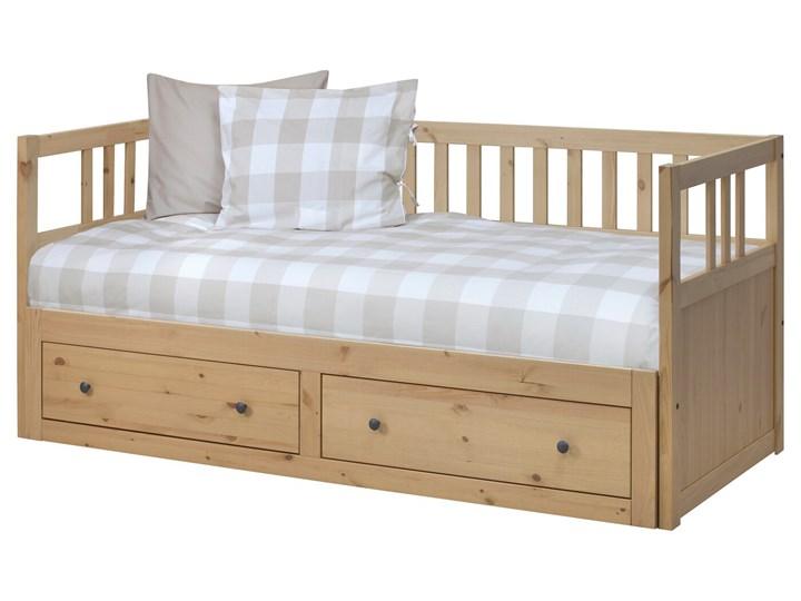 IKEA HEMNES Leżanka z 2 szufladami, 2 materace, jasnobrązowy/Malfors średnio twardy, 80x200 cm Podwójne Drewno Kolor Beżowy Kategoria Łóżka dla dzieci
