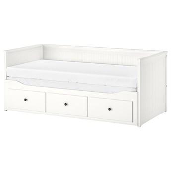 IKEA HEMNES Leżanka z 3 szufladami, 2 materace, biały/Moshult twardy, 80x200 cm