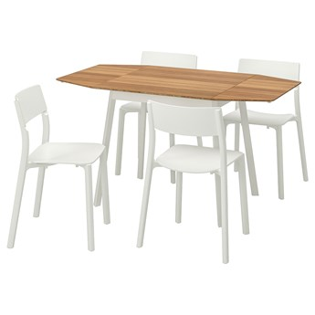 IKEA IKEA PS 2012 / JANINGE Stół i 4 krzesła, bambus/biały, 138 cm