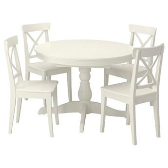 IKEA INGATORP / INGOLF Stół i 4 krzesła, biały/biały, 110/155 cm