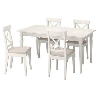 IKEA INGATORP / INGOLF Stół i 4 krzesła, biały/Hallarp beżowy, 155/215 cm