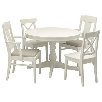 IKEA INGATORP / INGOLF Stół i 4 krzesła, biały/Nordvalla beżowy, 110/155 cm