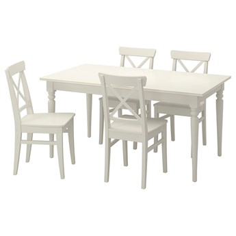 IKEA INGATORP / INGOLF Stół i 4 krzesła, biały, 155/215 cm