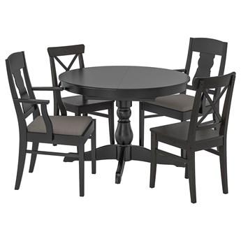 IKEA INGATORP / INGOLF Stół i 4 krzesła, czarny/Nolhaga szary/beż, 110/155 cm