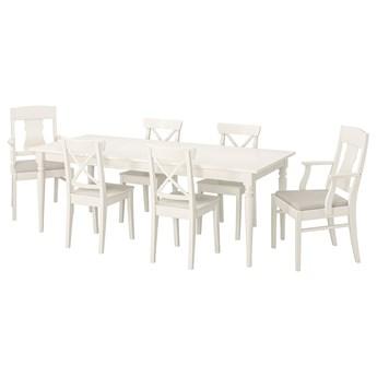 IKEA INGATORP / INGOLF Stół i 6 krzeseł, biały/Nordvalla beżowy, 155/215 cm