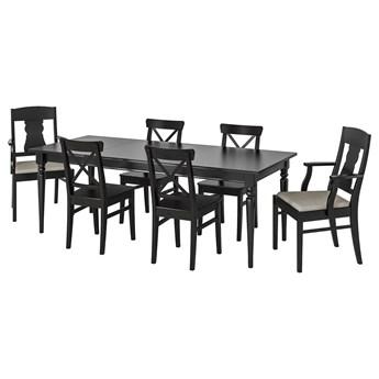 IKEA INGATORP / INGOLF Stół i 6 krzeseł, czarny/Nolhaga szary/beż, 155/215 cm