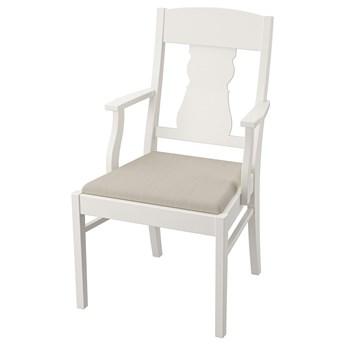 IKEA INGATORP Krzesło z podłokietnikami, Biały/Nordvalla beżowy, Przetestowano dla: 110 kg