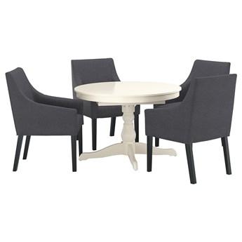 IKEA INGATORP / SAKARIAS Stół i 4 krzesła, czarny/Sporda ciemnoszary, 110/155 cm