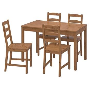 IKEA JOKKMOKK Stół i 4 krzesła, bejca patynowa, Długość stołu: 118 cm