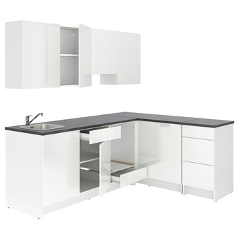 IKEA KNOXHULT Kuchnia narożna, połysk/biały, 243x164x220 cm