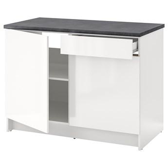 IKEA KNOXHULT Szafka stojąca, drzwi+szuflada, połysk biały, 120 cm