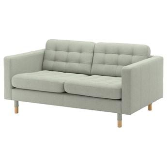 IKEA LANDSKRONA Sofa 2-osobowa, Gunnared jasnozielony/drewno, Szerokość: 164 cm