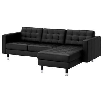 IKEA LANDSKRONA Sofa 3-osobowa, z szezlongiem/Grann/Bomstad czarny/metal, Szerokość: 240 cm
