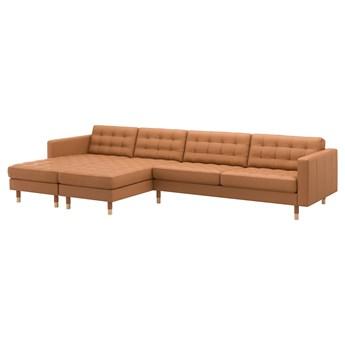IKEA LANDSKRONA Sofa 5-częściowa, z szezlongami/Grann/Bomstad złoto-brązowy/drewno, Szerokość: 360 cm