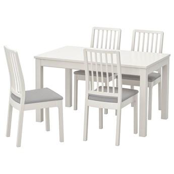 IKEA LANEBERG / EKEDALEN Stół i 4 krzesła, biały/biały jasnoszary, 130/190x80 cm