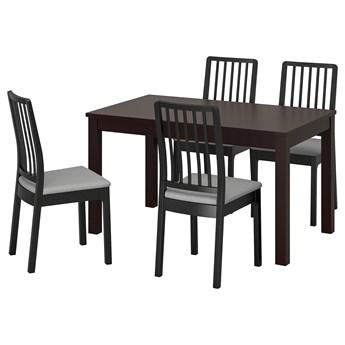 IKEA LANEBERG / EKEDALEN Stół i 4 krzesła, brązowy/czarny jasnoszary, 130/190x80 cm