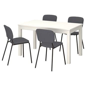 IKEA LANEBERG / KARLJAN Stół i 4 krzesła, biały/ciemnoszary ciemnoszary, 130/190x80 cm