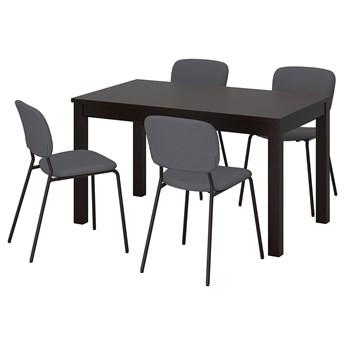 IKEA LANEBERG / KARLJAN Stół i 4 krzesła, brązowy/ciemnoszary ciemnoszary, 130/190x80 cm