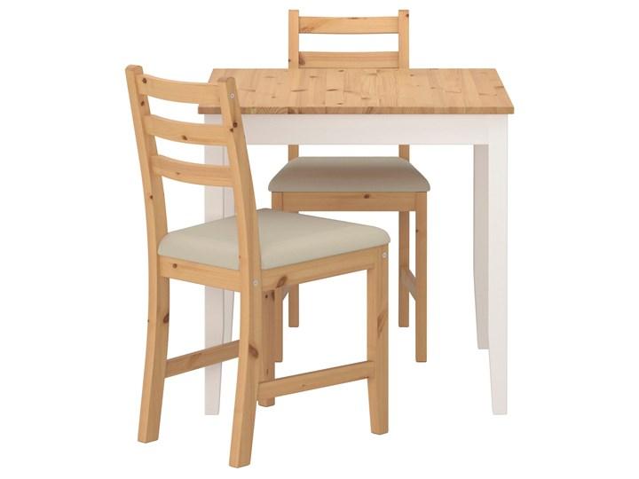 IKEA LERHAMN Stół i 2 krzesła, bejca jasna patyna biała bejca/Vittaryd beżowy, 74x74 cm