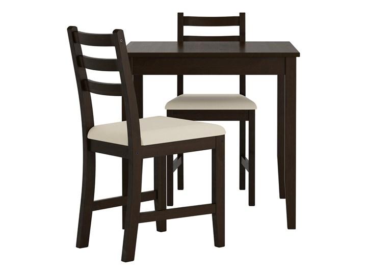 IKEA LERHAMN Stół i 2 krzesła, czarnybrąz/Vittaryd beżowy, 74x74 cm