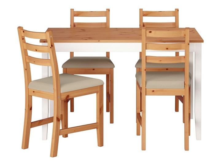 IKEA LERHAMN Stół i 4 krzesła, bejca jasna patyna biała bejca/Vittaryd beżowy, 118x74 cm