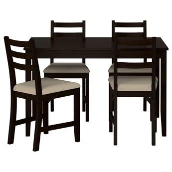 IKEA LERHAMN Stół i 4 krzesła, czarnybrąz/Vittaryd beżowy, 118x74 cm