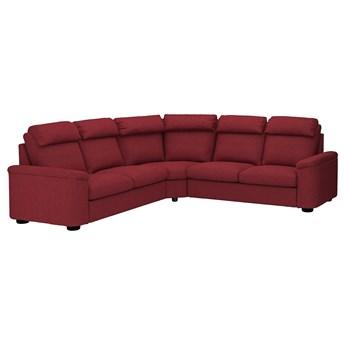 IKEA LIDHULT Narożna sofa rozkł, 5-os, Lejde czerwonobrązowy, Wysokość z poduchami oparcia: 102 cm