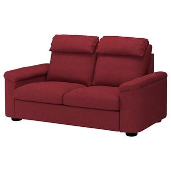 IKEA LIDHULT Sofa 2-osobowa rozkładana, Lejde czerwonobrązowy, Wysokość z poduchami oparcia: 102 cm