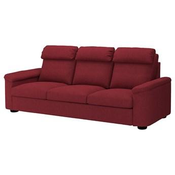 IKEA LIDHULT Sofa 3-osobowa, Lejde czerwonobrązowy, Wysokość z poduchami oparcia: 102 cm