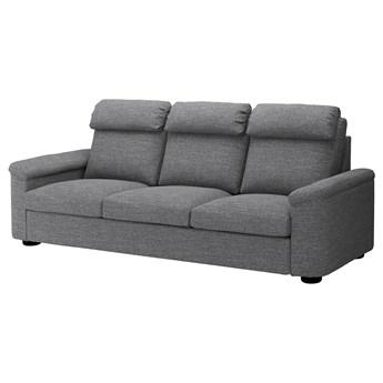 IKEA LIDHULT Sofa 3-osobowa, Lejde szary-czarny, Wysokość z poduchami oparcia: 102 cm