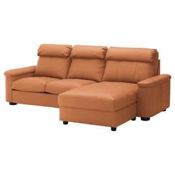 IKEA LIDHULT Sofa 3-osobowa, z szezlongiem/Grann/Bomstad złoto-brązowy, Wysokość z poduchami oparcia: 102 cm
