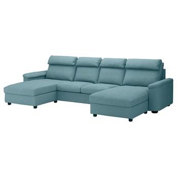IKEA LIDHULT Sofa 4-osobowa, z szezlongami/Gassebol niebieski/szary, Wysokość z poduchami oparcia: 102 cm