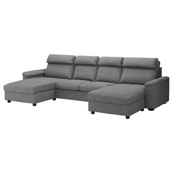 IKEA LIDHULT Sofa 4-osobowa, z szezlongami/Lejde szary-czarny, Wysokość z poduchami oparcia: 102 cm