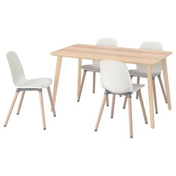 IKEA LISABO / LEIFARNE Stół i 4 krzesła, okleina jesionowa/biały, 140x78 cm